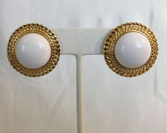 Monet White Plastic Cabochon Dome Gold Tone Filigree Vintage Pierced Earrings
