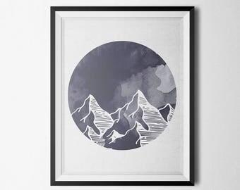 Mountains Watercolor Poster, Minimalist Art, Mountain Wall Art, Mountain Wall Decor, Watercolor Print, Scandinavian Wall Art