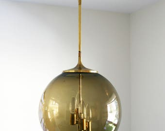 vintage mid century Litecraft California smoked glass globe pendant hanging lamp