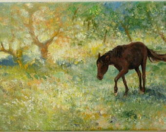 Horse... animal original fine art | nature painting, landscape | wedding birthday gift | ready to hang 'home sweet home' or a welcome gift