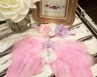 SALE!!!  Pink Newborn Angel Wings & Headband, Feather Wings, Photo Prop - SALE 40% OFF