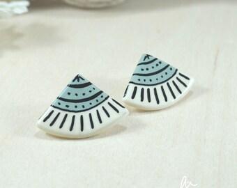 earrings minimal modern cute blue porcelain ceramic perfect birthday gift