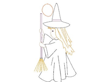 halloween witch girl with broom vintage quick bean stitch design file for embroidery