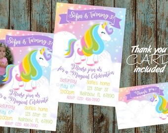 Unicorn Invitation, Unicorn Birthday, Unicorn Birthday Party, Unicorn Thank you Card, Unicorn Rainbow invitation, Rainbow Party Invitation