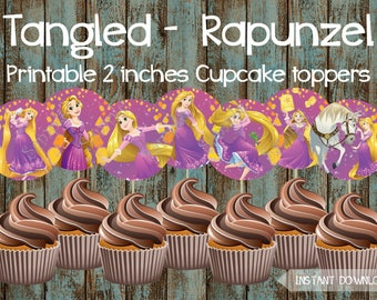 Rapunzel Cupcake Toppers, Tangled Printable Cupcake Toppers, Rapunzel Party Supplies, Tangled Cake Topper, Tangled Birthday Party Supplies