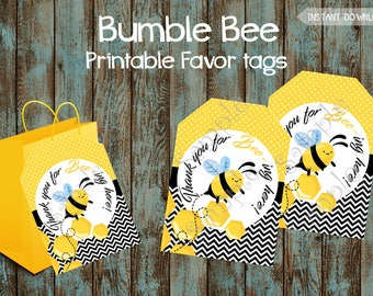 Printable Bumble Bee Favor Tags, Bumble Bee Gift Tags, Bee Theme Favor Tags, Bumble Bee Thank You Tags, Bee Favor tags, Bee Party tags