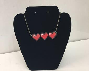 Legend of Zelda Heart Meter Bead Art Necklace