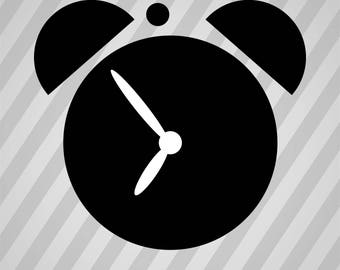 Alarm clock - Svg Dxf Eps Silhouette Rld RDWorks Pdf Png AI Files Digital Cut Vector File Svg File Cricut Laser Cut