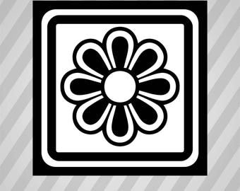 Flower Tile Silhouette - Svg Dxf Eps Silhouette Rld RDWorks Pdf Png AI Files Digital Cut Vector File Svg File Cricut Laser Cut