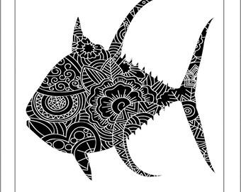 Yellowfin Tuna Papercut Template - Svg Paper Cut Templates Stencil Line Art Henna Mandala Pdf Cut Files Digital Clip Art Drawing
