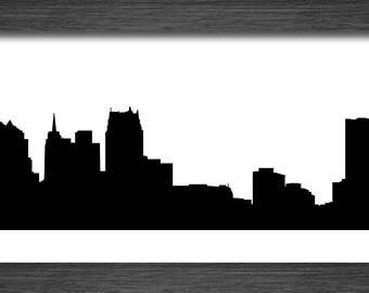 Detroit Skyline Silhouette Michigan - Svg Dxf Eps Silhouette Rld RDWorks Pdf Png AI Files Digital Cut Vector File Svg File Cricut Laser Cut