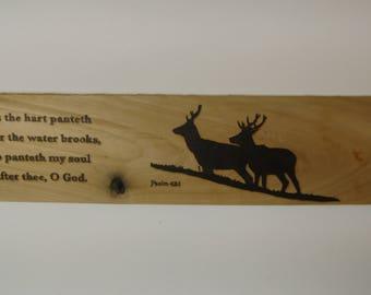 Psalm 42:1 (Long) Wood burned Scripture verse sign KJV