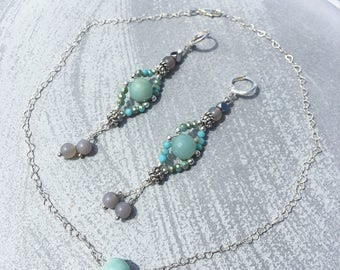 Amazonite Set, Necklace and Earrings