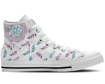 Women's High Top Sneaker with Dreamcatcher/Feather Print 'DreamCatcher' - White/Purple/Blue