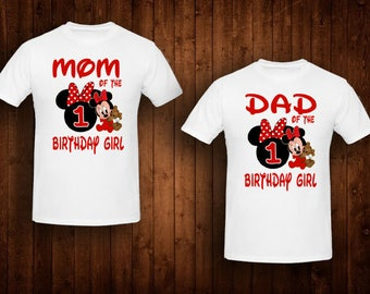 family shirts red baby minnie mouse birthday theme mom of the birthday girl dad of the birthday girl