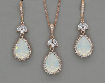 White Opal Bridal Jewelry Set Rose Gold Necklace and Earrings Set Swarovski Crystal Jewelry Set Wedding Jewelry Set Bridesmaid Gift silver