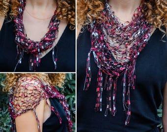 Burgundy necklace scarf Girlfriend gift Hand knit ladder shawl Dark red white trellis scarf for women Triangle scarf Jewelry scarf Mom scarf