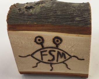 Freestanding 'Flying spaghetti monster' Wood Plaque