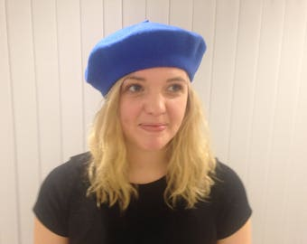 Royal blue 100% wool beret. Made in UK circa 1980s