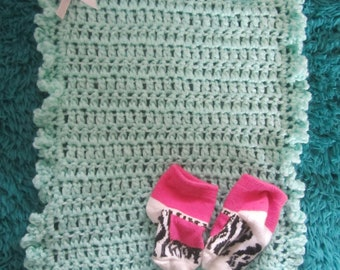 Crocheted MINT GREEN Blanket for your OOAK Baby/Doll