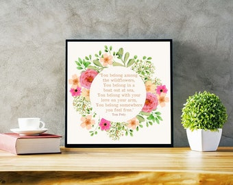 You Belong Among The Wildflowers Floral Watercolor Print Tom Petty Quote Digital Download