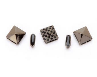 Stud and Spacer Sliders Mix - Hematite and Black - 5 pieces