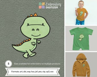 Cute Baby Green T-rex with Orange spikes Applique Embroidery Design