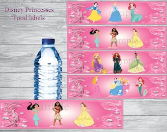 INSTANT DOWNLOAD- Disney princesses water bottle labels,Disney princesses party, Disney princesses birthday
