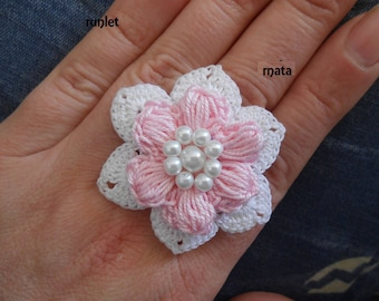 crochet rose flower ring,gift for her