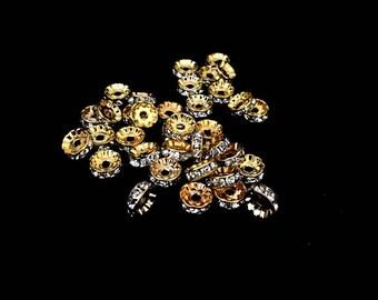 X 10 rondelle rhinestone spacer 10mm beads.