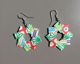 In shades of green origami star earrings