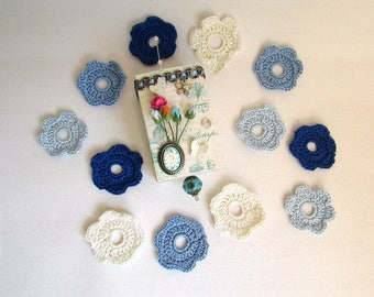 Blue crochet flowers in their gift box