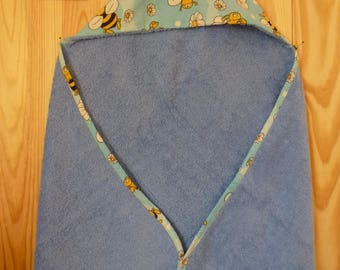 """Maya the bee"" blue terrycloth bath Cape"