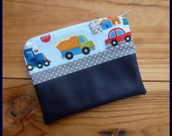 """Kit multi function """"My truck, my train.."""" fuchsia ostrich leatherette and cotton fabric"""