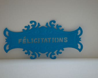 "Blue tag with ""Congratulations"" Custom cut"