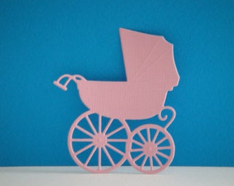 Cut stroller in pale pink design for scrapbooking or card paper