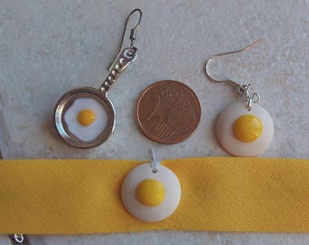 set bracelet and fried egg earrings