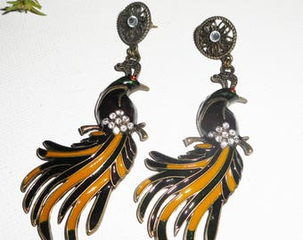 Earrings large Peacock enamel and rhinestones