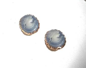 Blue cameo earrings clips