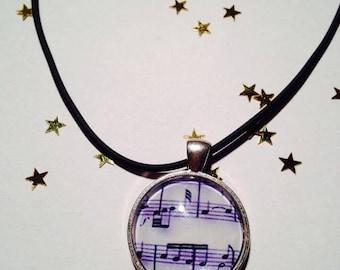 "Rubber pendant 25 mm ""Music"" Choker necklace"