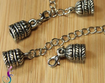 5 full clasps with lobster clasp in antique silver A299