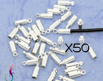 50 silver plated end caps to stick for Ribbon, lace, cord up to 1.8 mm