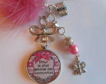 """Bag charm, door keys/teacher / """"for the nicest teachers"""" / birthday/school/gift/Christmas year end party"""