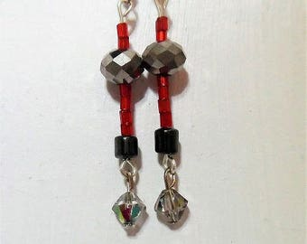Earrings glass beads and hematite