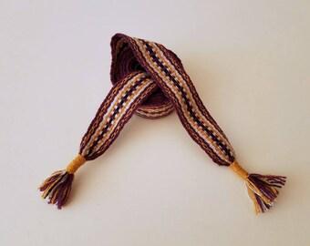 Hand woven belt, color purple, 72,8 inch long by 1.38 inch wool yarn