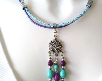 Ethnic purple-turquoise, Sun, leather cord charm necklace