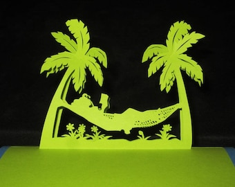 Palm trees 3D holiday card