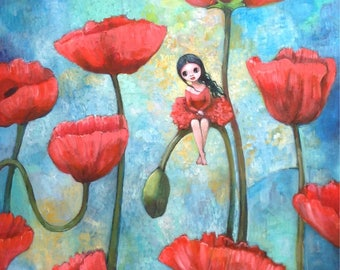 """Painting on wood """"poppy Lady"""". Unique artwork. Girl with poppies. Fairy painting. Fairy"""