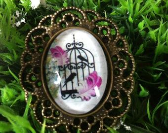"bronze brooch romantic ""caged birds"""