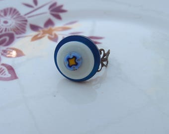 Button and blue and white Murano millefiori mosaic ring flower